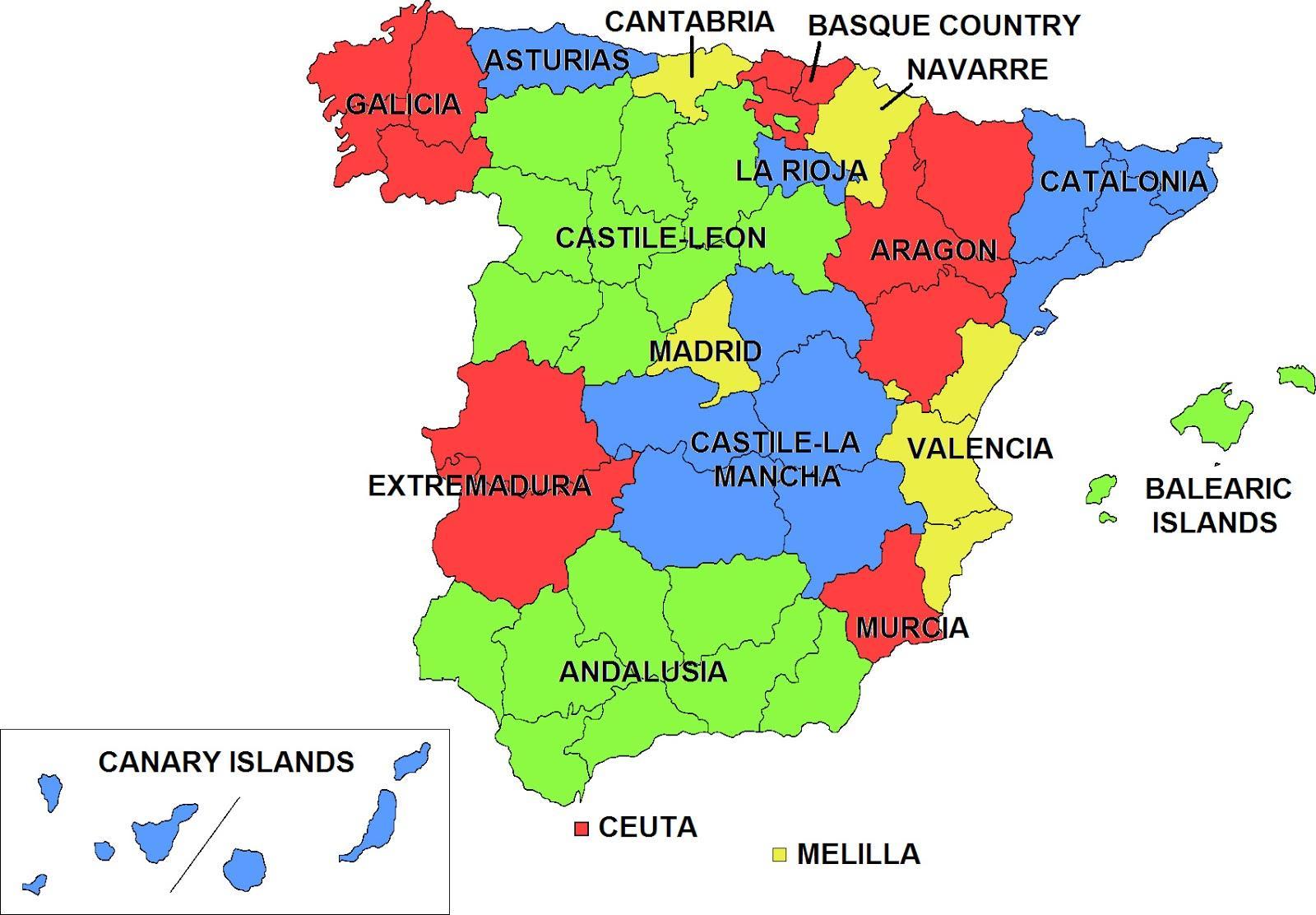 mapa espanha regiões Espanha regiões do mapa   Mapa de Espanha e regiões (Sul da Europa  mapa espanha regiões