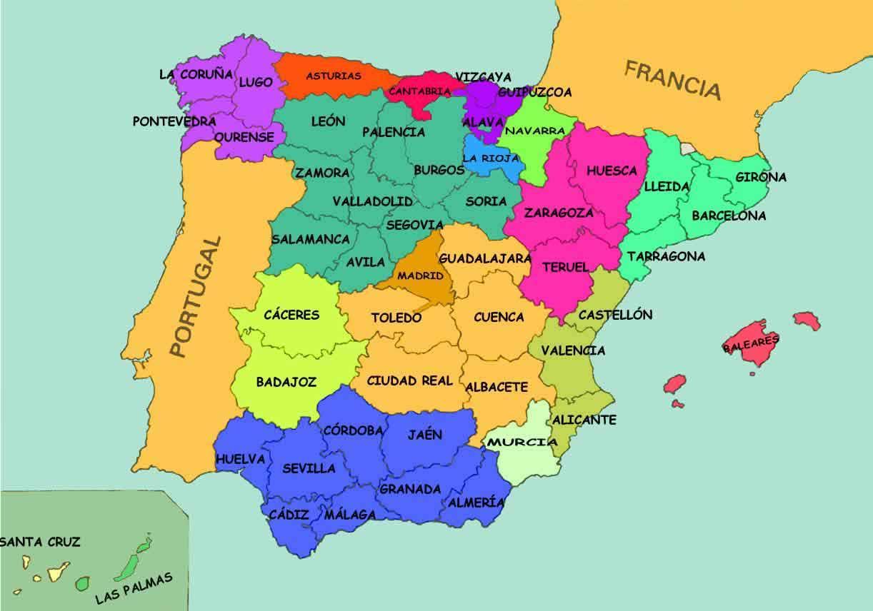 mapa espanha badajoz Espanha estados mapa   Mapa de Espanha estados (Sul da Europa  mapa espanha badajoz