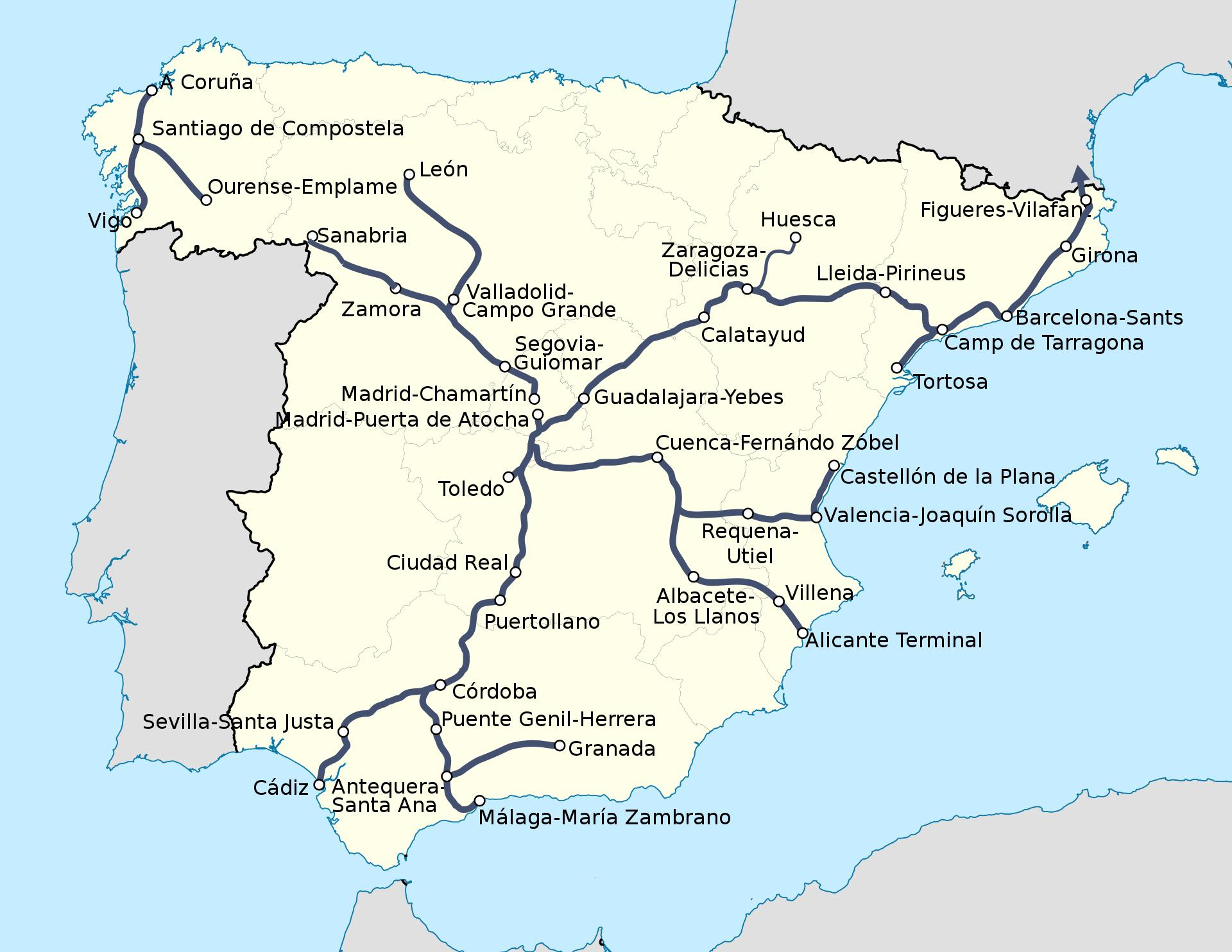 ave espanha mapa Espanha ferroviária ave mapa de trens Ave Espanha mapa de rota  ave espanha mapa