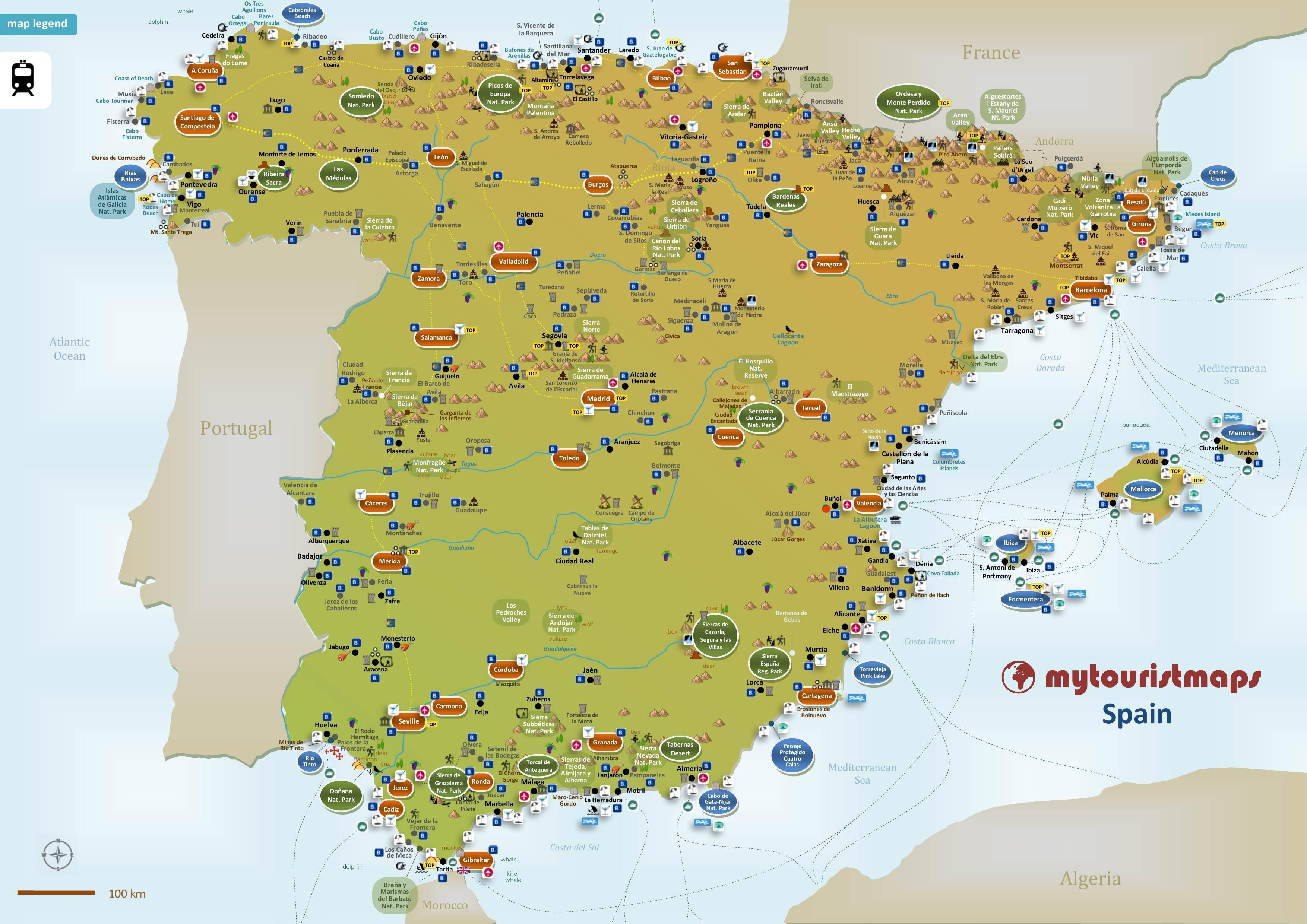 mapa turistico de espanha Espanha mapa turístico   Mapa da Espanha dos turistas (Sul da  mapa turistico de espanha
