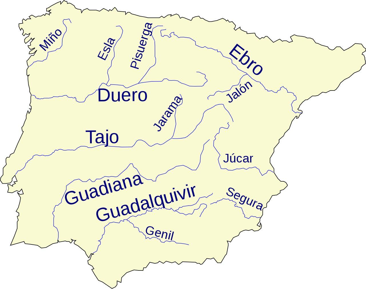Rios De Espanha Mapa De Espanha Do Rio De Mapa Sul Da Europa