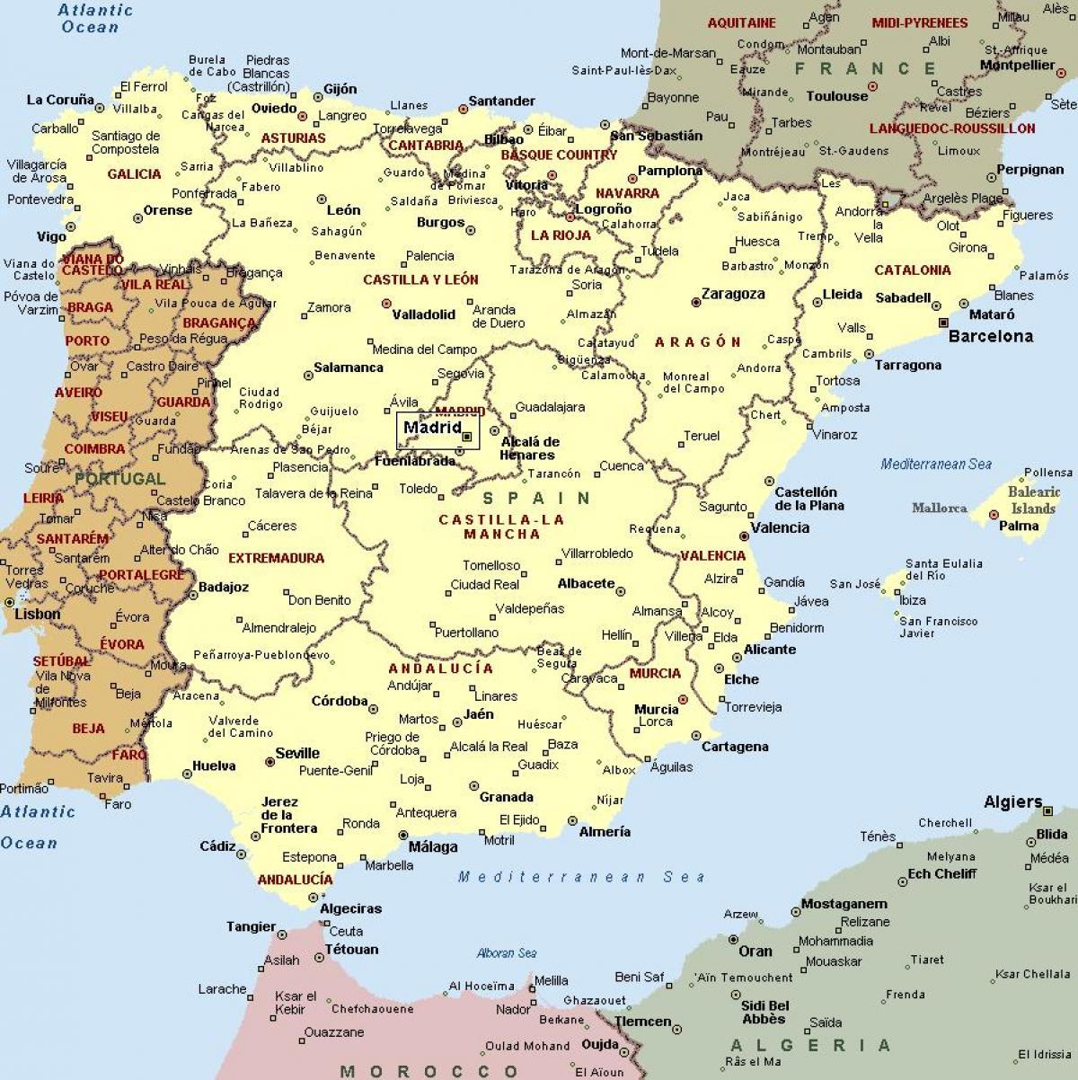 Mapa Da Espanha Com As Cidades Mapa De Espanha E De Cidades Do