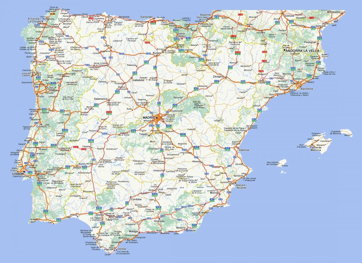 Mapa De Estradas De Espanha Mapa De Estradas De Espanha Com As