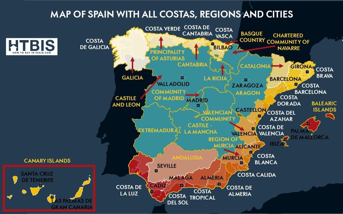 mapa costa espanha Mapa do sul de Espanha   costa do Mapa do sul da Espanha costa  mapa costa espanha