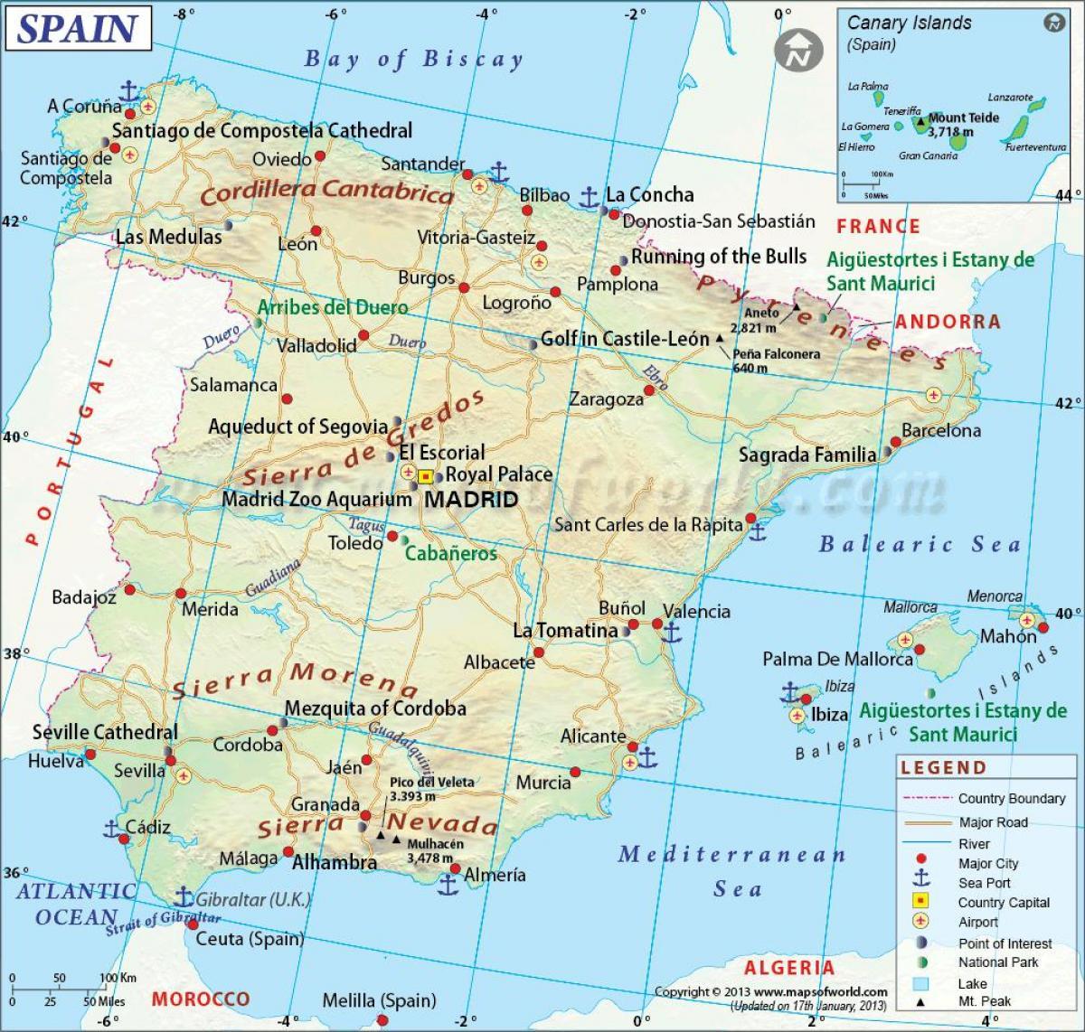 Mostrar Mapa Da Espanha Mapa Completo Da Espanha Europa Do Sul